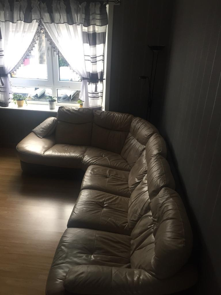 Leather corner sofa for sale with glass coffee table