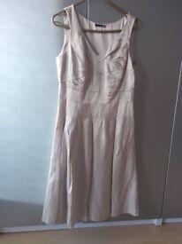 cream linen silk fitted dress