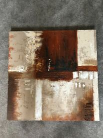 Abstract Brown & Neutral Gouache 70cm x 70cm Canvas Painting