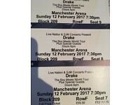 3 Drake Tickets 12th Feb Manchester
