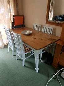 Pine kitchen table and four chairs