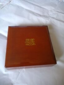 Beautiful wooden box with monogram on top