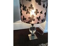 Beautiful giant heavy glass table lamp and shade
