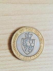 2 pound coin golden guinea 2013.