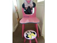 Minnie Mouse dressing table and stool
