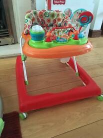 Baby walker used and play mat never used