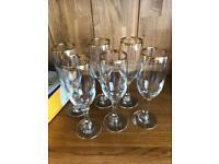 Set of 6 crystal sparkling wine / champagne flutes