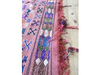 Large pink Moroccan rug 292cm x 189cm wool/cotton