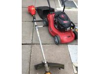 Petrol lawnmower and petrol trimmer