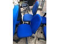 Bright blue office chairs