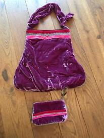 Powder designer handbag and matching purse
