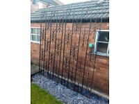 X2 Outdoor Pair Of Wrought Iron Vintage Fabricated Garden Dividing Panels