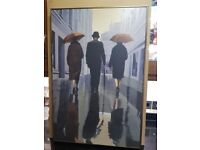 Jack Vettriano style painting - Bowler-hatted gentleman with 2 ladies. 60mm deep black & gold frame