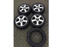 """VW Speedline Santa Monica 17"""" Alloy Wheels With Tyres MK4 Golf V6 5x100"""