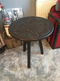 Wooden carved side table round