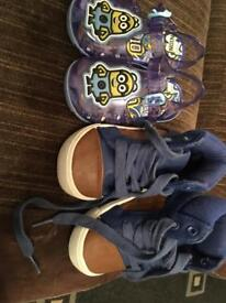Baby boots and minion jelly bean sandals both size 3