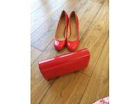 Lunar Red Patent Court Shoes & clutch bag