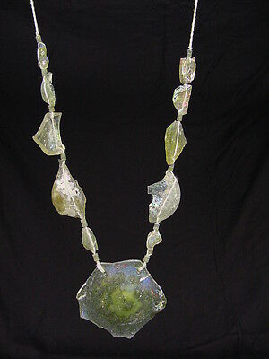 (BUTW Antique Iridescent 1st Century Roman Glass Bead Pendant Necklace 6805K)