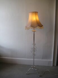 Vintage white metal standard lamp in working condition
