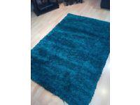 Shaggy pile Teal rug