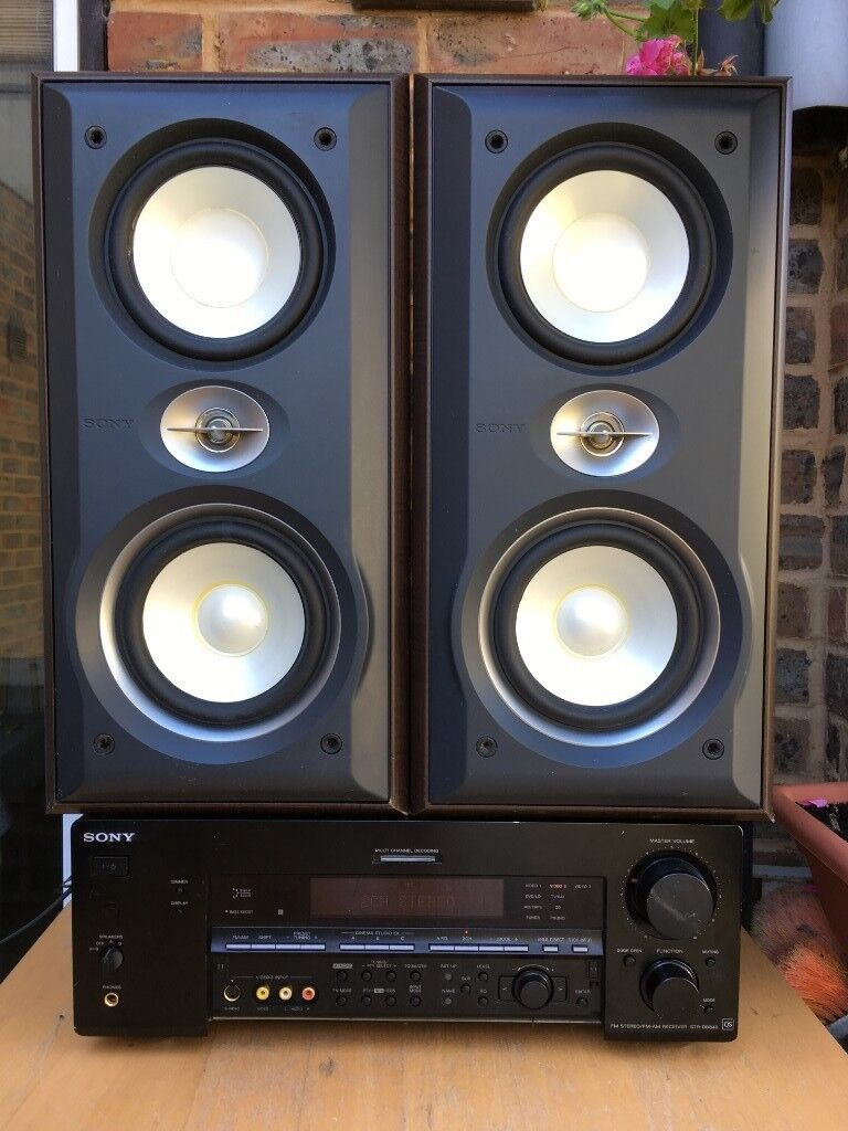 60w Sony Ss S3 Speakers System 3 Way Bass Reflex Floor Bi Wiring Standing Wire