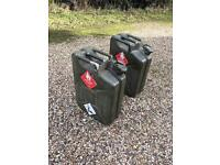 Metal petrol cans containers jerry cans green boot camp gym weights