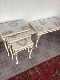 SHABBY CHIC NEST OF TABLES AND COFFEE TABLE