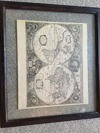 Four (New) traditional map pictures set in glass with dark wood frames
