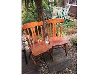 Wooden Fiddleback Farmhouse Dining Chairs - Pair - Good Condition £25.00
