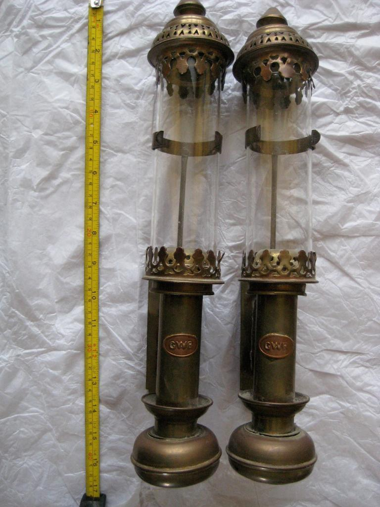 Pair Of Gwr Railway Carriage Lamps Collectable Decorative