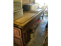 Work bench and wooden horses x2