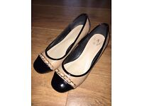 Good condition womens beige quilted black block heel flats. Size UK 5, EU 38