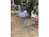 Blue bistro table and 2 chairs