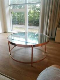 Mirror copper effect round coffee table