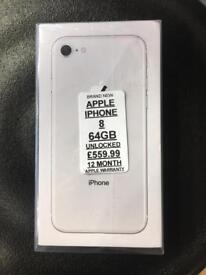 IPHONE 8 64GB UNLOCKED BRAND NEW 12MONTH APPLE WARRANTY