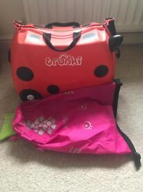 Girls suitcase and backpack