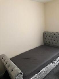 Velvet grey single bed