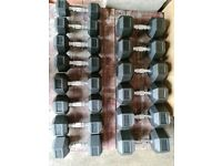 Set of Hex Dumbbells 2 x 7.5kg to 25kg. Brand new and boxed.