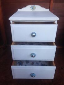 White, hand-painted bedside table