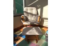 Rocking Chair with comfortable padded cushions and stool, ideal for night time baby feeds