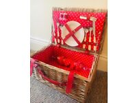 Picnic Basket & Accessories - Brand New - Wicker & Polka Dot Lining