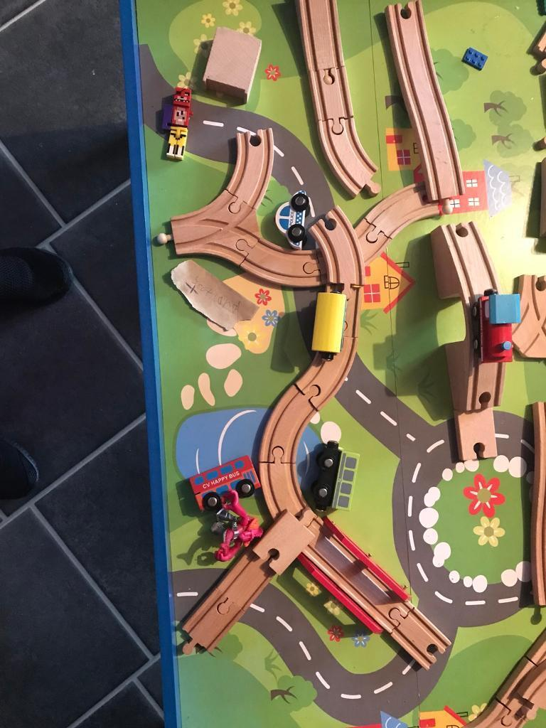 Large kids train table with the the track trains