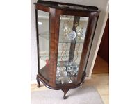 Vintage Wooden & Glass China Display Cabinet 1940s/50s