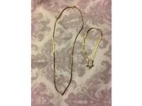 9 ct gold herringbone necklace and matching bracelet