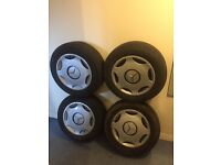 "4x Mercedes Steel Wheels 15"" with trims and Tyres"