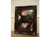 "Photo frame 5"" x 7"" or 13 x 18 cm. Black with beautiful gold decoration"