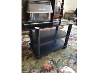 BLACK TV / DVD SKY TABLE WITH SHELF
