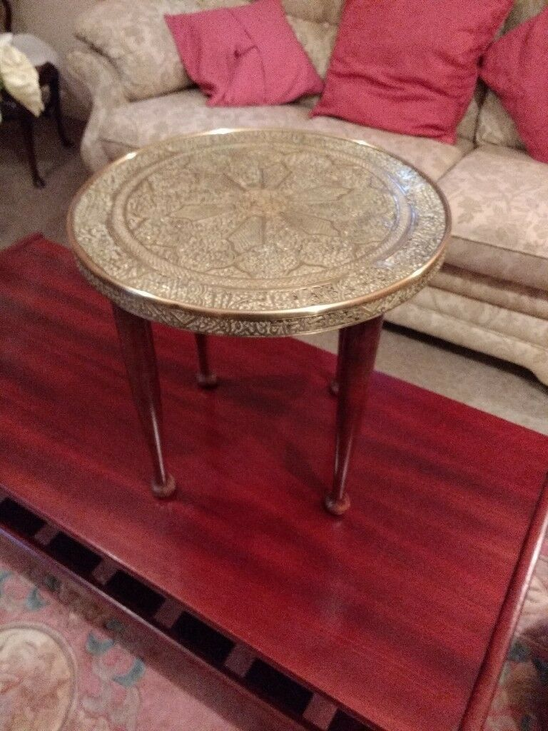 Vintage Brass Topped Occasional Table