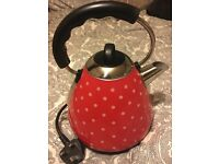 Asda red polka dot country kitchen shabby chic kettle