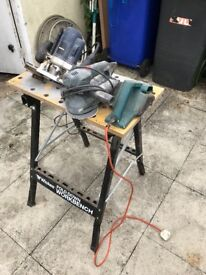 Work Bench/six power tools/ Two Sanders/Bench Grinder/Reciprocating Saw